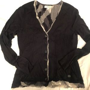 Burberry London silk wool plaid cardigan